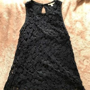 Women Tank Top Lace Solid Black Scoop Neck Racer
